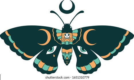 iconic tattoo style image of a moth