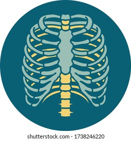 iconic tattoo style image of a rib cage