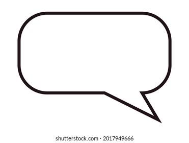 Icono de bocadillo de habla vació en fondo blanco.