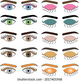 Icono for website eyes colors can you do a GIF open and close eyes, blue, green, brown, gray, vector. Beautiful eye, eyeshadow