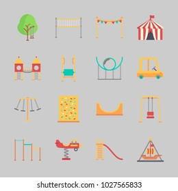 Icons about Amusement Park with skater, pirate ship ride , amusement park, swings, roller coaster and climb