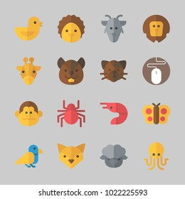Icons about Animals with butterfly, giraffe, hedgehog, mouse, chicken and goat