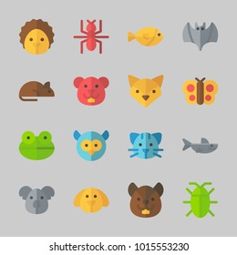 Icons about Animals with cat, ant, fish, frog, koala and rat