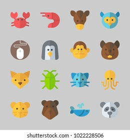 Icons about Animals with cat, prawn, crab, penguin, monkey and panda
