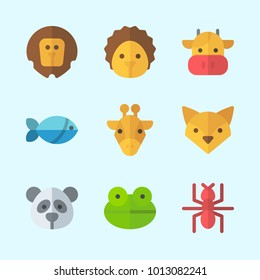 Icons about Animals with cow, fox, frog, lion, giraffe and hedgehog