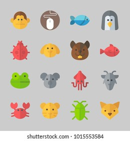 Icons about Animals with fox, mouse, monkey, goat, squirrel and crab