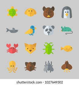 Icons about Animals with fox, shark, bird, crab, cat and cockroach
