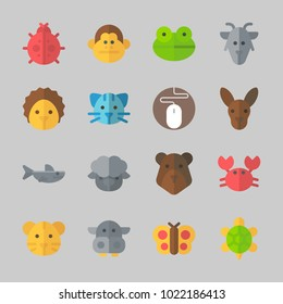 Icons about Animals with frog, mouse, tiger, bear, monkey and crab