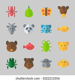 Icons about Animals with panda, dog, bear, fish, ant and horse
