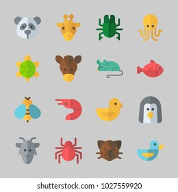 Icons about Animals with panda, horse, penguin, cat, giraffe and fish