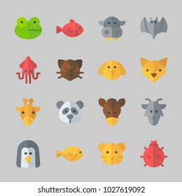Icons about Animals with penguin, goat, fox, horse, bat and fish