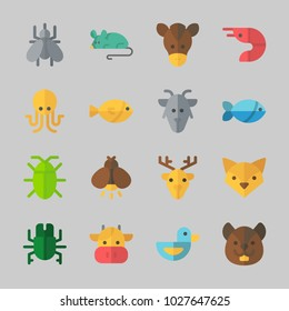 Icons about Animals with prawn, mouse, mosquito, beetle, duck and horse