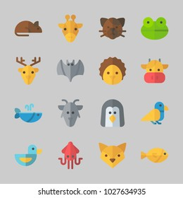 Icons about Animals with rat, cow, frog, fox, deer and goat