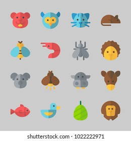 Icons about Animals with rat, hedgehog, firefly, fish, duck and owl