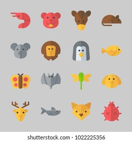 Icons about Animals with shark, dog, butterfly, horse, dragonfly and bat