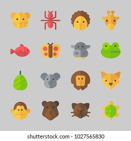 Icons about Animals with turtle, fox, cat, giraffe, tiger and butterfly