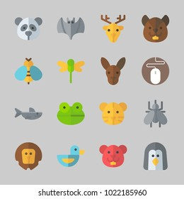 Icons about Animals with wasp, panda, mouse, duck, frog and dragonfly