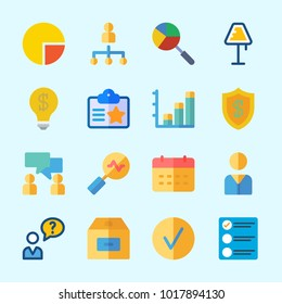 Icons about Business with box, lamp, id card, checked, list and shield