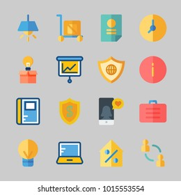 Icons about Business with shield, suitcase, network, agreement, real estate and networking