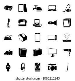 icons about Electronic with housekeeping, television, ironing, cleanup and touch screen