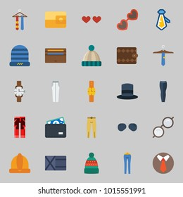 Icons about Man Accessories with wallet, tie, sunglasses, winter hat, top hat and watch