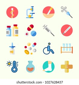 Icons about Medical with syringe, test tubes, thermometer, flask, wheelchair and surgery