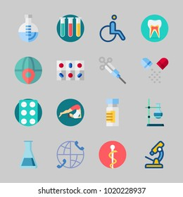 Icons about Medical with wheelchair, pill, yoga, test tube, tablets and pills