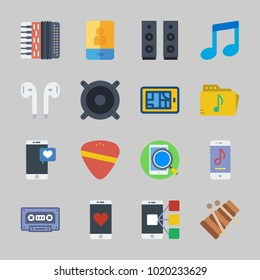 Icons about Music with xylophone, announcer, music player, music folder, accordion and cassette