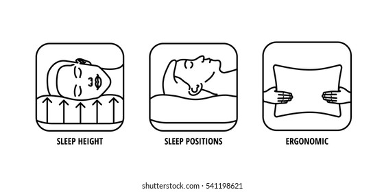 Icons About Pillow Features. Comfortable Sleep