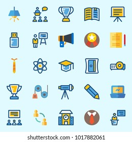 Icons about School And Education with projector, pencil, presentation, physics, trophy and lecture