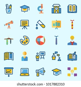Icons about School And Education with tie, telescope, presentation, test tube, pencil case and lecture