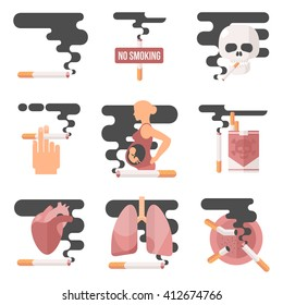 Icons about smoking, vector illustration flat. dangers of smoking, pregnant woman