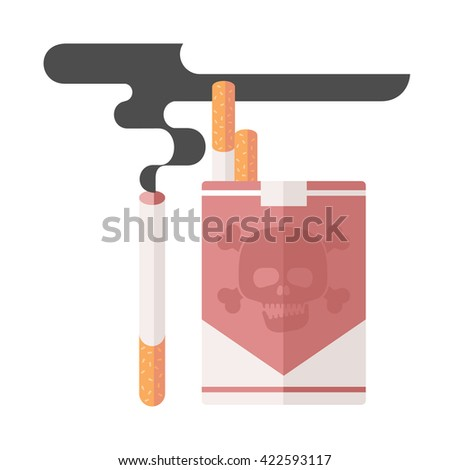 Icons about smoking, vector illustration flat, the dangers of smoking, a pack of cigarettes, nicotine dangerous smoke, danger to life and limb due to nicotine