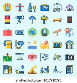 Icons about Travel with plane ticket, map, car, motorbike, umbrella and plane