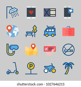 Icons about Travel with shower, snorkel, van, worldwide, tree and location