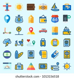 Icons about Travel with storm, car, route, pyramid, sport bag and smartphone