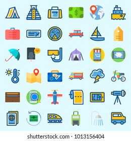 Icons about Travel with storm, motorbike, tag, pizza, plane and smartphone