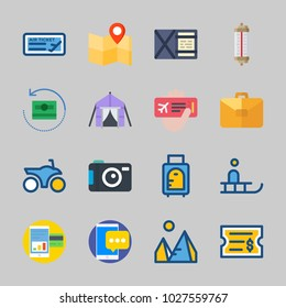 Icons about Travel with thermometer, wallet, plane ticket, ticket, pyramids and suit case