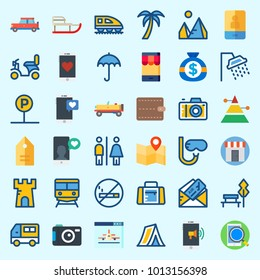Icons about Travel with train, photo camera, park, snorkel, shop and palm