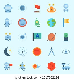 Icons about Universe with black hole, orbit, mars, flag, astronaut and meteorite