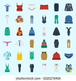 Icons about Women Clothes with tank top, swimsuit, trousers, pants, shirt and winter hat