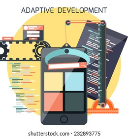 Icons for adaptive application development in flat design. Smartphones with site coding pencil and building crane ruller