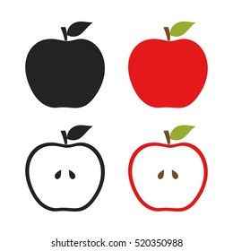 Icons of apples set illustration