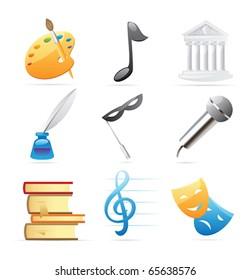 Icons for arts: fine arts, music, architecture, poetry, literature, theatre. Vector illustration.