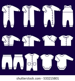 Icons baby clothes. Garments for infant kids. Vector set children's overalls, bodysuits, shirt, rompers, pants and baby's loose jacket. Collection white clothing on blue background.