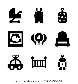 Icons Baby with cradle, sponge, car, sonography and pushchair