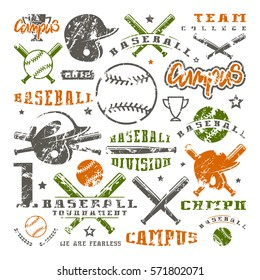 Icons and badges set of baseball team. Graphic design for t-shirt.