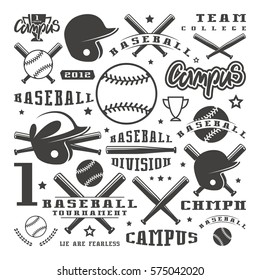 Icons and badges set of baseball team. Graphic design for t-shirt