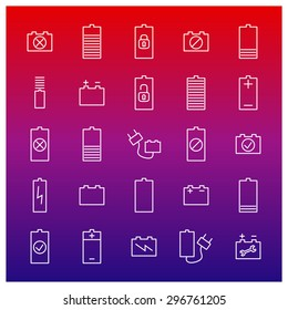 Icons batteries from thin lines, vector illustration.