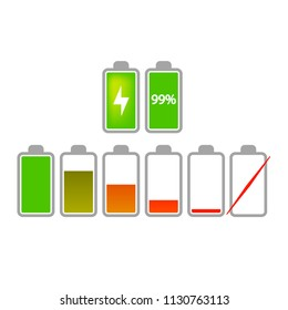 Icons for battery charger, vector illustration isolated on white background
